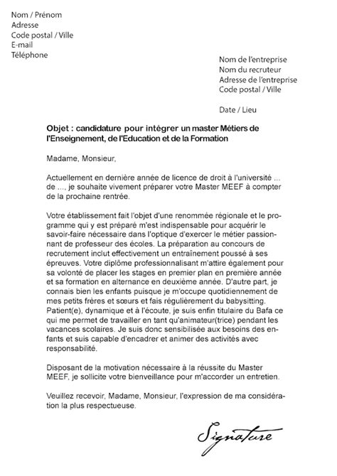 Exemple Lettre De Motivation Ecole De Commerce Master Lettre De Motivation Master Meef Mod 232 Le De Lettre
