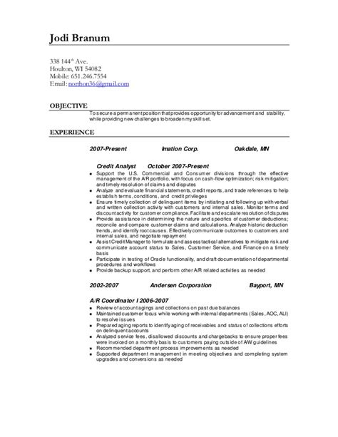 credit analyst resume sle credit and collections analyst resume