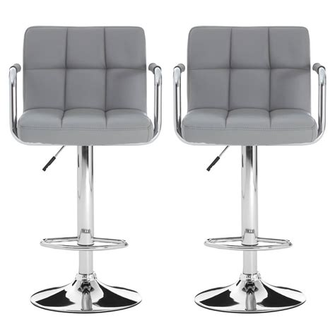 Grey Faux Leather Bar Stools by Grey Faux Leather Bar Stool Chrome Free Delivery