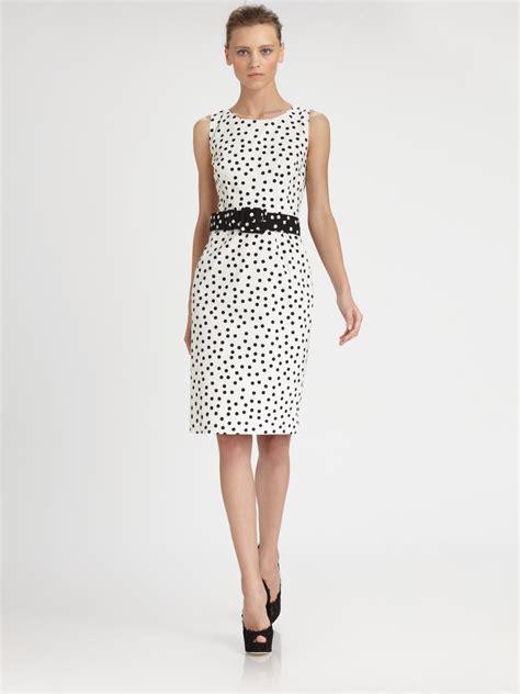 Dress White Polcadot Lace lyst dolce gabbana polka dot dress in black