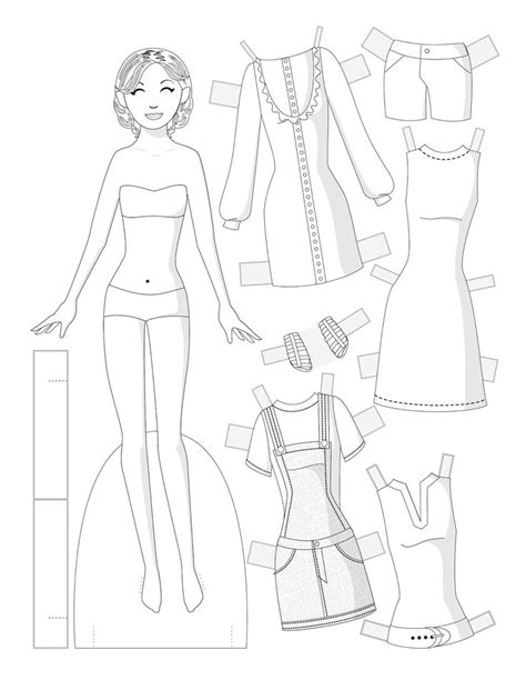 111 Best Coloring Pages Images On Pinterest Fashion Paper Doll Template