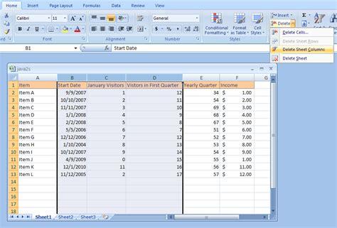 excel delete columns or rows