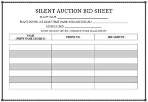 Silent Auction Bid Sheet Template by Silent Auction Bid Sheet Templates In Word Printable