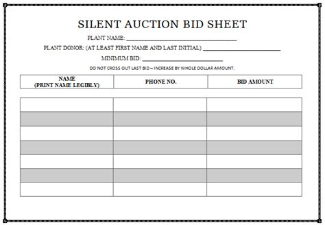 silent auction templates silent auction bid sheet templates in word printable