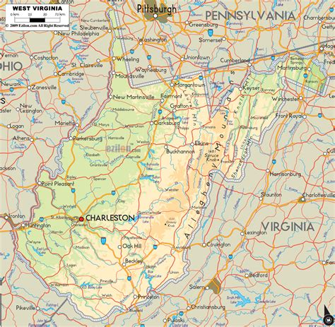 map of wv physical map of west virginia ezilon maps