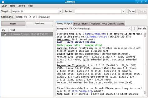 nmap zenmap tutorial tutoriais e outros apps nmap 5 50 ferramenta para