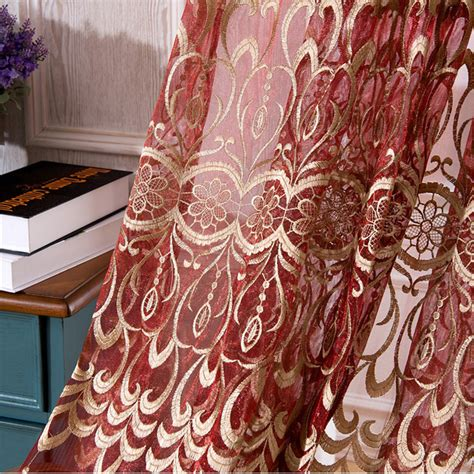 red embroidered curtains red gold embroidered curtain tulle window curtains for