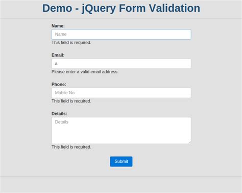 email format php validation how to validate form in jquery using jquery form validator
