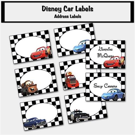 Disney Cars Inspired Labels Place Cards Address Labels Tent Labels Printable Pdf Diy Auto Labels Templates