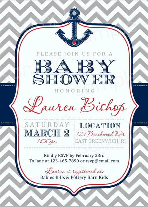free nautical baby shower invitation templates baby shower invitations cheap nautical theme baby shower
