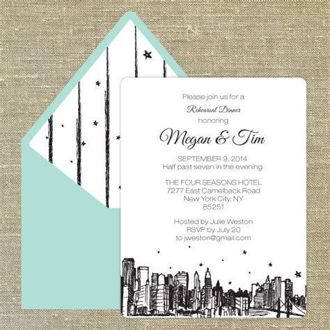 Nyc Themed Wedding Invitations by New York Weddings Rehearsal Dinner Invitations Ideas