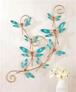 Dragonfly Wall Decor by 3d Turquoise Dragonfly Hanging Scroll Metal Wall