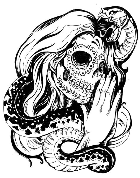 sugar skull woman tattoo designs snake and sugar skull design
