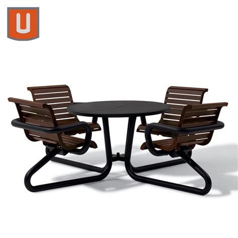 42 Quot Outdoor Table With Attached Seats Millennium