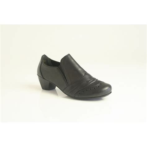 rieker rieker black leather high cut shoe with brogue