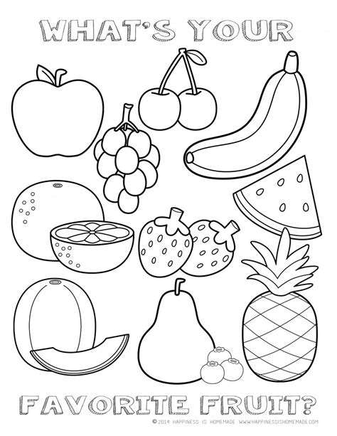 coloring pages fruits preschool free fruit coloring page happiness is homemade teacher