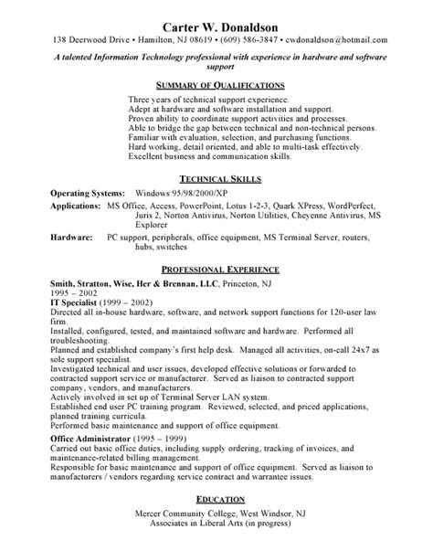 cover letter it help desk resume sles free it help