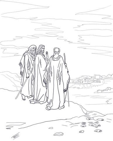 coloring page of jesus on the road to emmaus jesus on the road to emmaus coloring page supercoloring