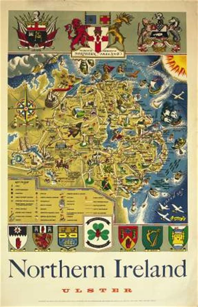 irish art travel poster map of northern ireland ulster