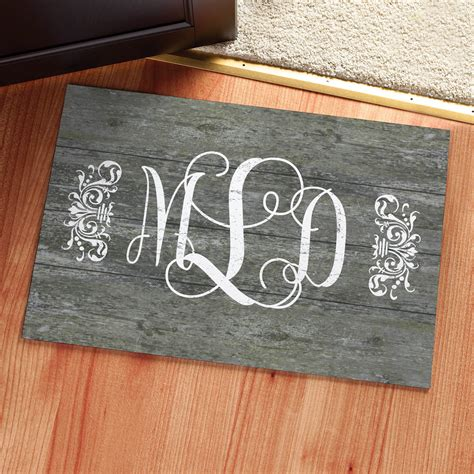 Vintage Wood Monogram Personalized Doormat Personalized Monogram Front Door Mat