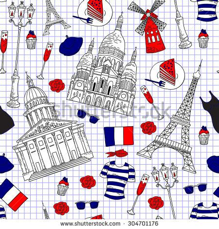 Travel Pattern In French | london icons doodles drawing background stock vector