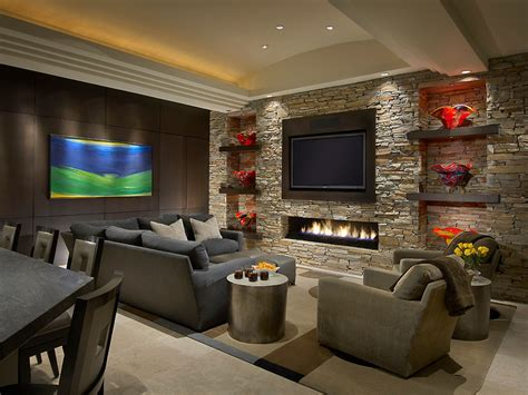 profile fireplace living room contemporary  family