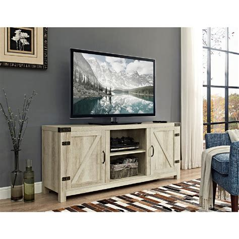 Walker Edison Furniture Company 58 In Barn Door Tv Stand White Tv Cabinets With Doors