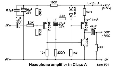 transistor headphone lifier schematic class a designed headphone lifier using bc308 transistor eeweb community