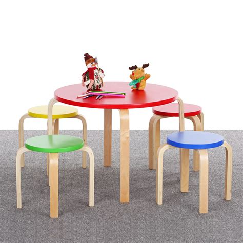 unfinished childrens and chairs ikayaa solid wood round kids and 4 chairs set