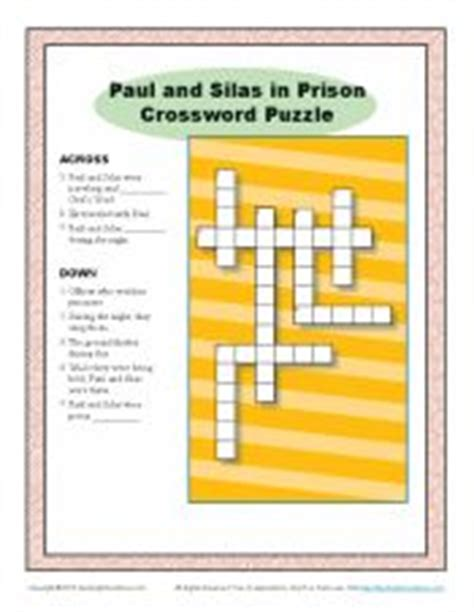 printable games for jail paul and silas in prison crossword puzzle paul and silas