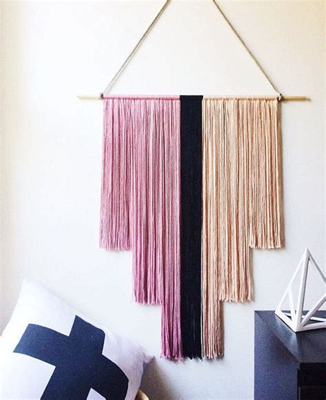 Decorating With Yarn by Pink And Black Yarn Wall Hanging Deco Banner Fiber