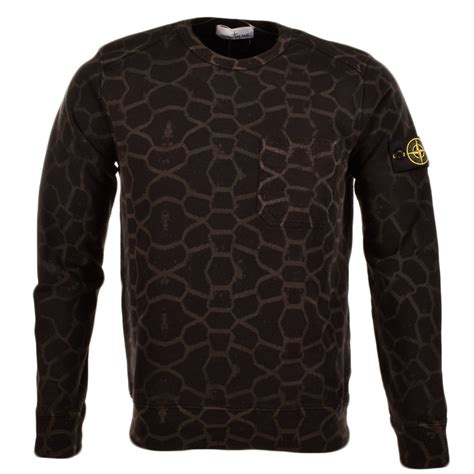 island island black crew neck lazer print camo sweater sweatshirts from