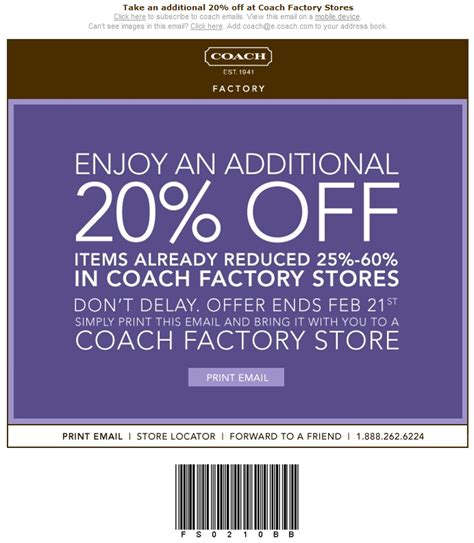 printable outlet coupons uberi com 187 coach factory store take additional 20 off
