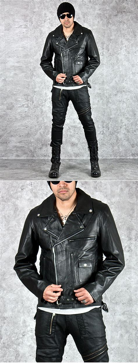 Fashion 063 Leather Quality Semi Premium 1 outerwear vintage breasted black biker leather jacket 70 for only 192 00