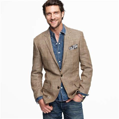 men dress casual sport coat j crew glen plaid silklinen sportcoat in ludlow fit in