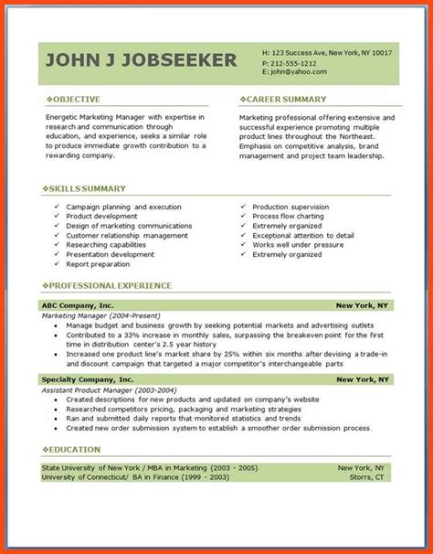 Resume Format On Pdf free resume template downloads pdf program format
