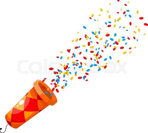 Home Decoration Birthday Party by Colored Popper On White Background Cartoon Popper A