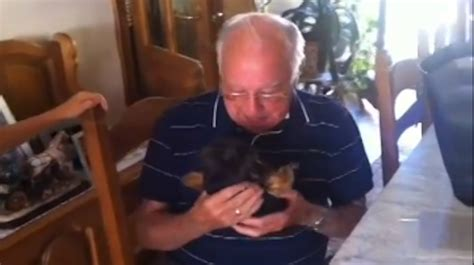 grandpas surprise grieving grandfather is overcome with tears when his family surprises him with a new puppy
