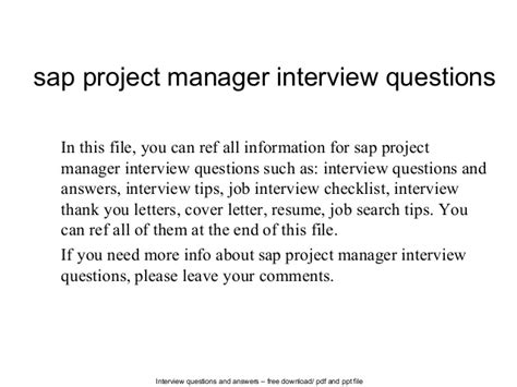 sap project manager questions