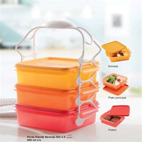 Set Tupperware porta viandas naranja set x 3 tupperware
