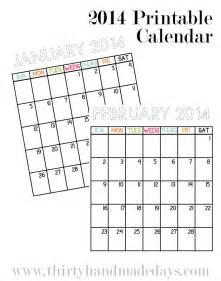 Mini Desk Calendar 2014 Printable 2014 Printable Calendar Up Today S Creative
