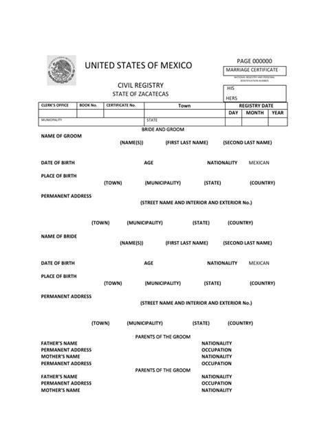 marriage certificate translation template mexico marriage certificate