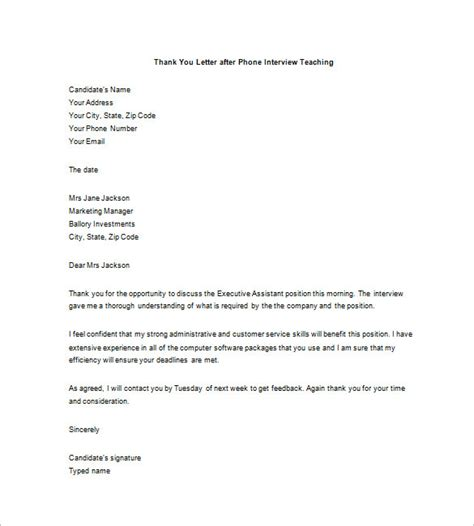 8 thank you email after phone call informal letters
