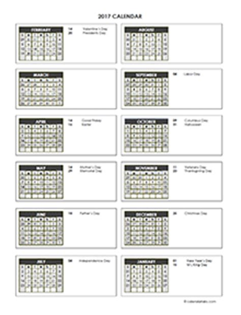 2017 accounting calendar templates download free