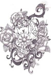 flower eye sugar skull tattoo design