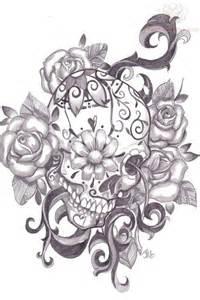 Pics photos sugar skull and flower tattoo design