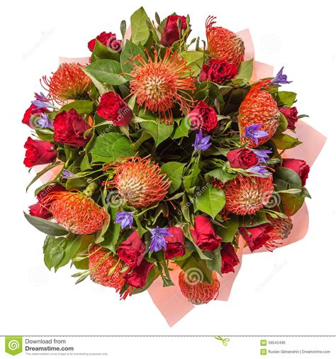 Flowery Top bouquet of flowers top view isolated on white stock photo
