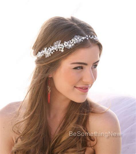 Haarschmuck Braut Offene Haare by Perlen Und Strass Hochzeit Haar Rebe Braut Haarschmuck Perlen