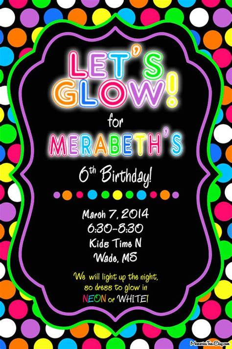 neon glow in the dark inflatable party invitation by