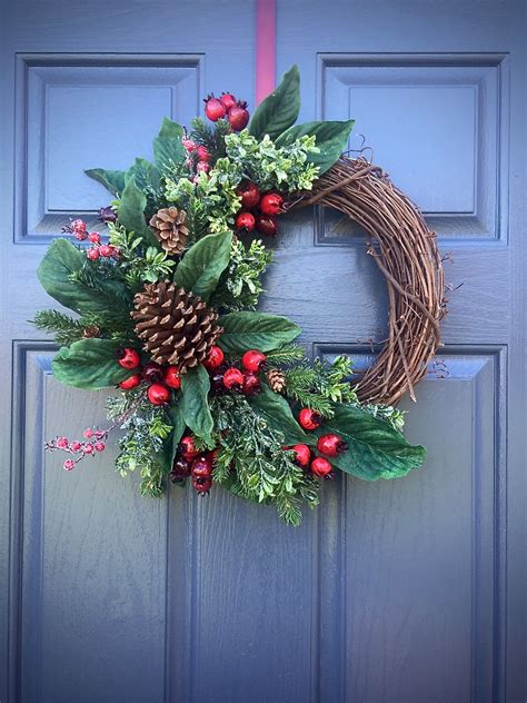 wreath decorations pinecone wreaths winter door wreaths green red winter